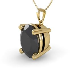 5.0 CTW Oval Black Diamond Designer Necklace 14K Yellow Gold - REF-114F9N - 38435