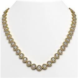 36.09 CTW Cushion Cut Diamond Designer Necklace 18K Yellow Gold - REF-6687K8W - 42859