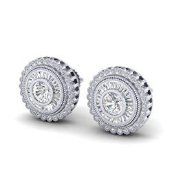 2.61 CTW VS/SI Diamond Solitaire Art Deco Stud Earrings 18K White Gold - REF-381M8H - 37082