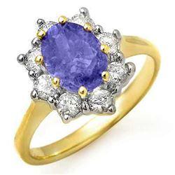 2.75 CTW Tanzanite & Diamond Ring 14K Yellow Gold - REF-86W4F - 13423
