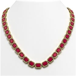 58.59 CTW Ruby & Diamond Halo Necklace 10K Yellow Gold - REF-777A8X - 41335