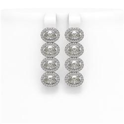 5.92 CTW Oval Diamond Designer Earrings 18K White Gold - REF-1094K9W - 42818