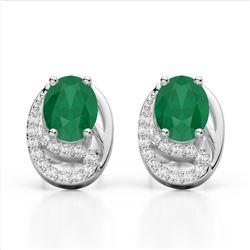 2.50 Emerald & Micro Pave VS/SI Diamond Stud Earrings 10K White Gold - REF-25N6Y - 22331