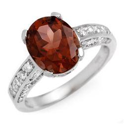 3.60 CTW Pink Tourmaline & Diamond Ring 14K White Gold - REF-84Y2K - 10466