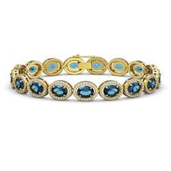 24.32 CTW London Topaz & Diamond Halo Bracelet 10K Yellow Gold - REF-256F8N - 40639