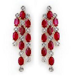 4.03 CTW Ruby & Diamond Earrings 14K Yellow Gold - REF-109A3X - 14200