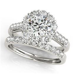 3.14 CTW Certified VS/SI Diamond 2Pc Wedding Set Solitaire Halo 14K White Gold - REF-645W2F - 30744