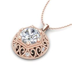 1.11 CTW VS/SI Diamond Solitaire Art Deco Stud Necklace 18K Rose Gold - REF-298W2F - 36924