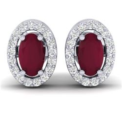 1.02 CTW Ruby & Micro Pave VS/SI Diamond Earrings Halo 18K White Gold - REF-32W8F - 21191