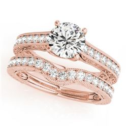 1.67 CTW Certified VS/SI Diamond Solitaire 2Pc Wedding Set 14K Rose Gold - REF-388X2T - 31671