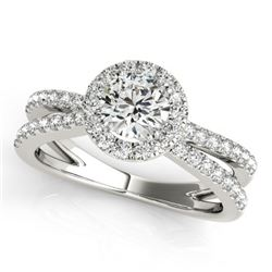 1.55 CTW Certified VS/SI Diamond Solitaire Halo Ring 18K White Gold - REF-402W9F - 26623