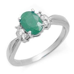 0.96 CTW Emerald & Diamond Ring 14K White Gold - REF-30H9A - 13027
