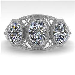 2 CTW Past Present Future VS/SI Oval Cut Diamond Ring 18K White Gold - REF-421M6H - 36066