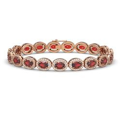 14.63 CTW Garnet & Diamond Halo Bracelet 10K Rose Gold - REF-228M2H - 40497