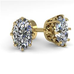 1.0 CTW VS/SI Oval Cut Diamond Stud Solitaire Earrings 18K Yellow Gold - REF-178N2Y - 35671