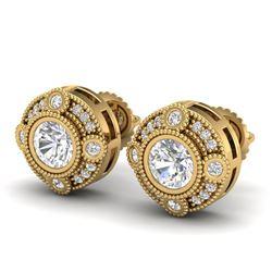 1.5 CTW VS/SI Diamond Solitaire Art Deco Stud Earrings 18K Yellow Gold - REF-263F6N - 36982