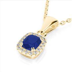 1.25 CTW Sapphire & VS/SI Diamond Halo Necklace Micro Pave 10K Yellow Gold - REF-29F6N - 22891
