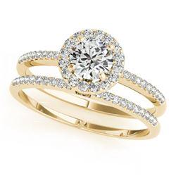 1.11 CTW Certified VS/SI Diamond 2Pc Wedding Set Solitaire Halo 14K Yellow Gold - REF-191M5H - 30800