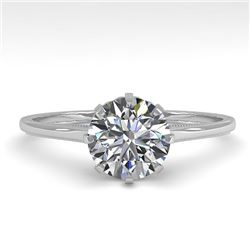 1.01 CTW Certified VS/SI Diamond Engagement Ring 18K White Gold - REF-286W3F - 35742