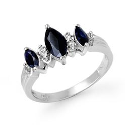 1.0 CTW Blue Sapphire & Diamond Ring 10K White Gold - REF-23Y3K - 12895