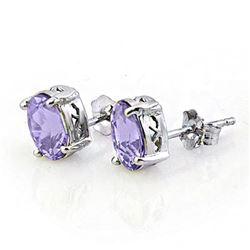 2.0 CTW Tanzanite Earrings 18K White Gold - REF-32Y5K - 11328