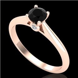 0.4 CTW Fancy Black Diamond Solitaire Engagement Art Deco Ring 18K Rose Gold - REF-33W6F - 38179