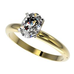 1.25 CTW Certified VS/SI Quality Oval Diamond Solitaire Ring 10K Yellow Gold - REF-370X8T - 32915