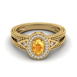 0.53 CTW Citrine & VS/SI Diamond Solitaire Halo Fashion Ring 10K Yellow Gold - REF-25T3M - 20835