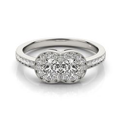 1 CTW Certified VS/SI Diamond 2 Stone Solitaire Ring 18K White Gold - REF-148T9M - 28239