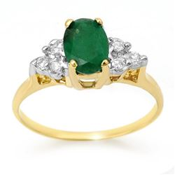 1.18 CTW Emerald & Diamond Ring 14K Yellow Gold - REF-26Y4K - 13966