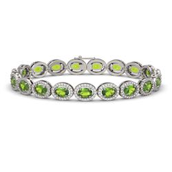 13.87 CTW Peridot & Diamond Halo Bracelet 10K White Gold - REF-251F6N - 40478
