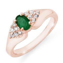 0.63 CTW Emerald & Diamond Ring 14K Rose Gold - REF-38W2F - 12537