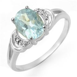 1.06 CTW Blue Topaz & Diamond Ring 18K White Gold - REF-23H3A - 12547