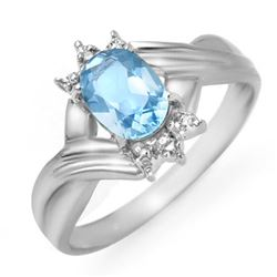 1.04 CTW Blue Topaz & Diamond Ring 10K White Gold - REF-15H5A - 12314