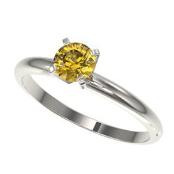 0.55 CTW Certified Intense Yellow SI Diamond Solitaire Engagement Ring 10K White Gold - REF-58K2W -