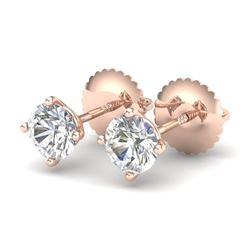 0.65 CTW VS/SI Diamond Solitaire Art Deco Stud Earrings 18K Rose Gold - REF-97N3Y - 37296
