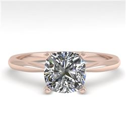 1.01 CTW Cushion Cut VS/SI Diamond Engagement Designer Ring 14K Rose Gold - REF-297Y2K - 32171