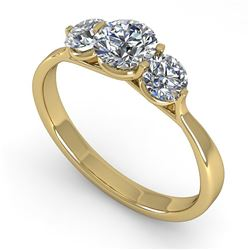 1 CTW Past Present Future Certified VS/SI Diamond Ring Martini 14K Yellow Gold - REF-110X4T - 38345