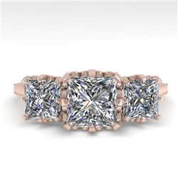 2 CTW Past Present Future Certified VS/SI Princess Diamond Ring 18K Rose Gold - REF-414K2W - 35783