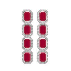 12.33 CTW Ruby & Diamond Halo Earrings 10K White Gold - REF-168K2W - 41429