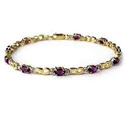 2.03 CTW Amethyst & Diamond Bracelet 10K Yellow Gold - REF-25T3M - 13013
