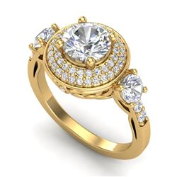 2.05 CTW VS/SI Diamond Solitaire Art Deco 3 Stone Ring 18K Yellow Gold - REF-490H9A - 37264