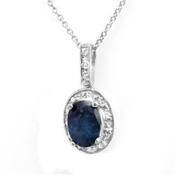1.02 CTW Blue Sapphire & Diamond Pendant 14K White Gold - REF-12M8H - 13783