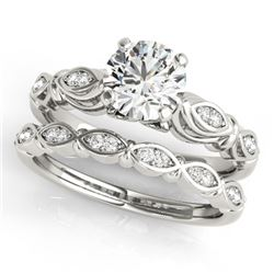 0.52 CTW Certified VS/SI Diamond Solitaire 2Pc Wedding Set Antique 14K White Gold - REF-84H2A - 3149