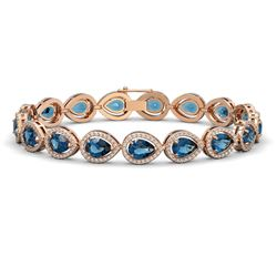 16.59 CTW London Topaz & Diamond Halo Bracelet 10K Rose Gold - REF-281M6H - 41127