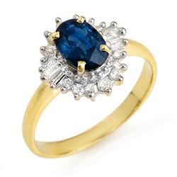 1.72 CTW Blue Sapphire & Diamond Ring 10K Yellow Gold - REF-44Y5K - 12500