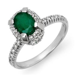 1.90 CTW Emerald & Diamond Ring 14K White Gold - REF-62W5F - 14387