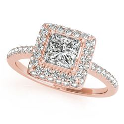1.05 CTW Certified VS/SI Princess Diamond Solitaire Halo Ring 18K Rose Gold - REF-229F5N - 27142