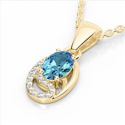 1.25 CTW Sky Blue Topaz & Micro Pave VS/SI Diamond Necklace 10K Yellow Gold - REF-19T6M - 22345