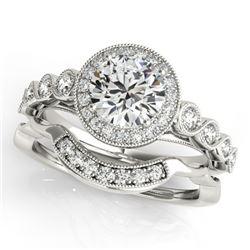 1.6 CTW Certified VS/SI Diamond 2Pc Wedding Set Solitaire Halo 14K White Gold - REF-402T4M - 30849